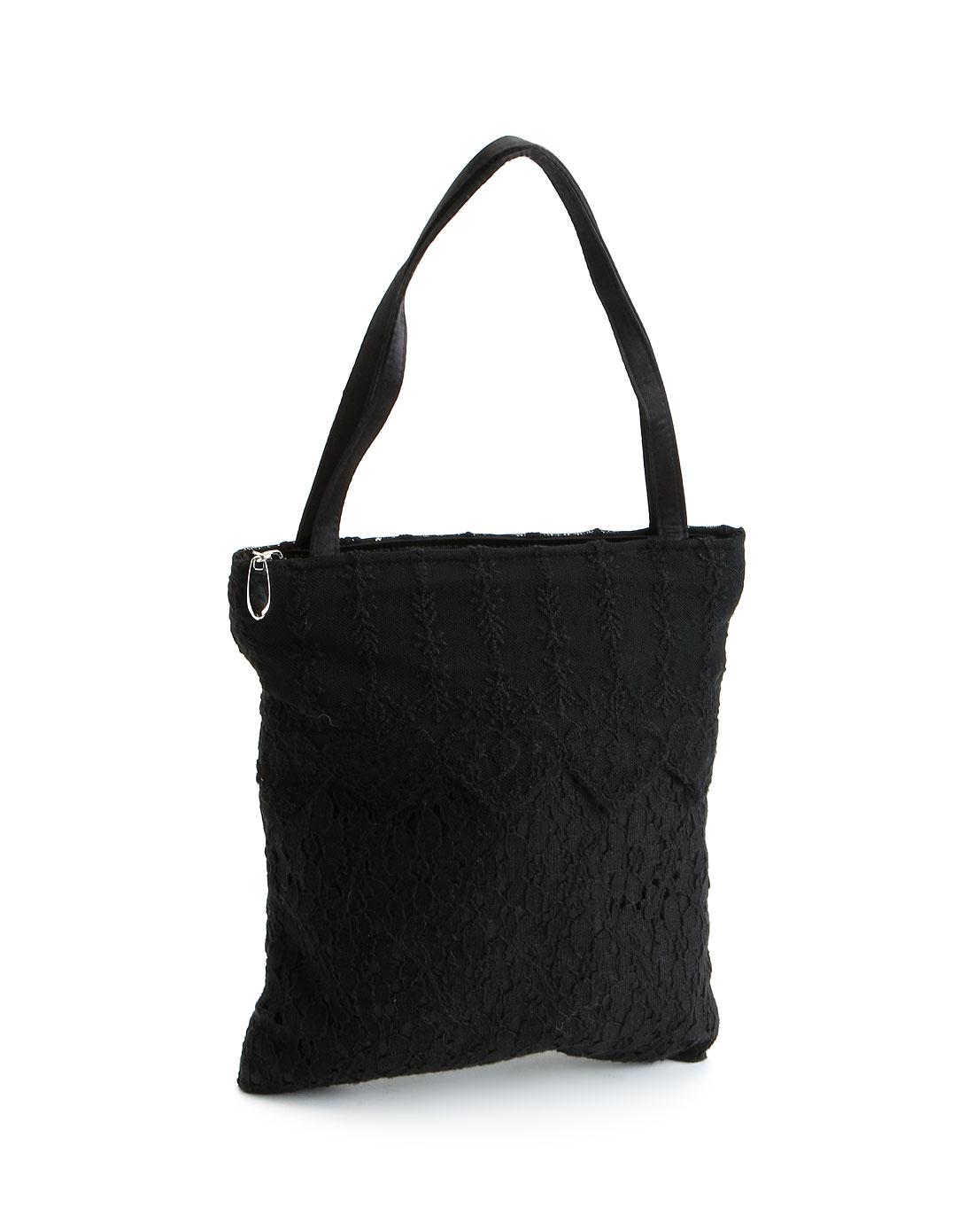 女款黑色镂空花布小手提包