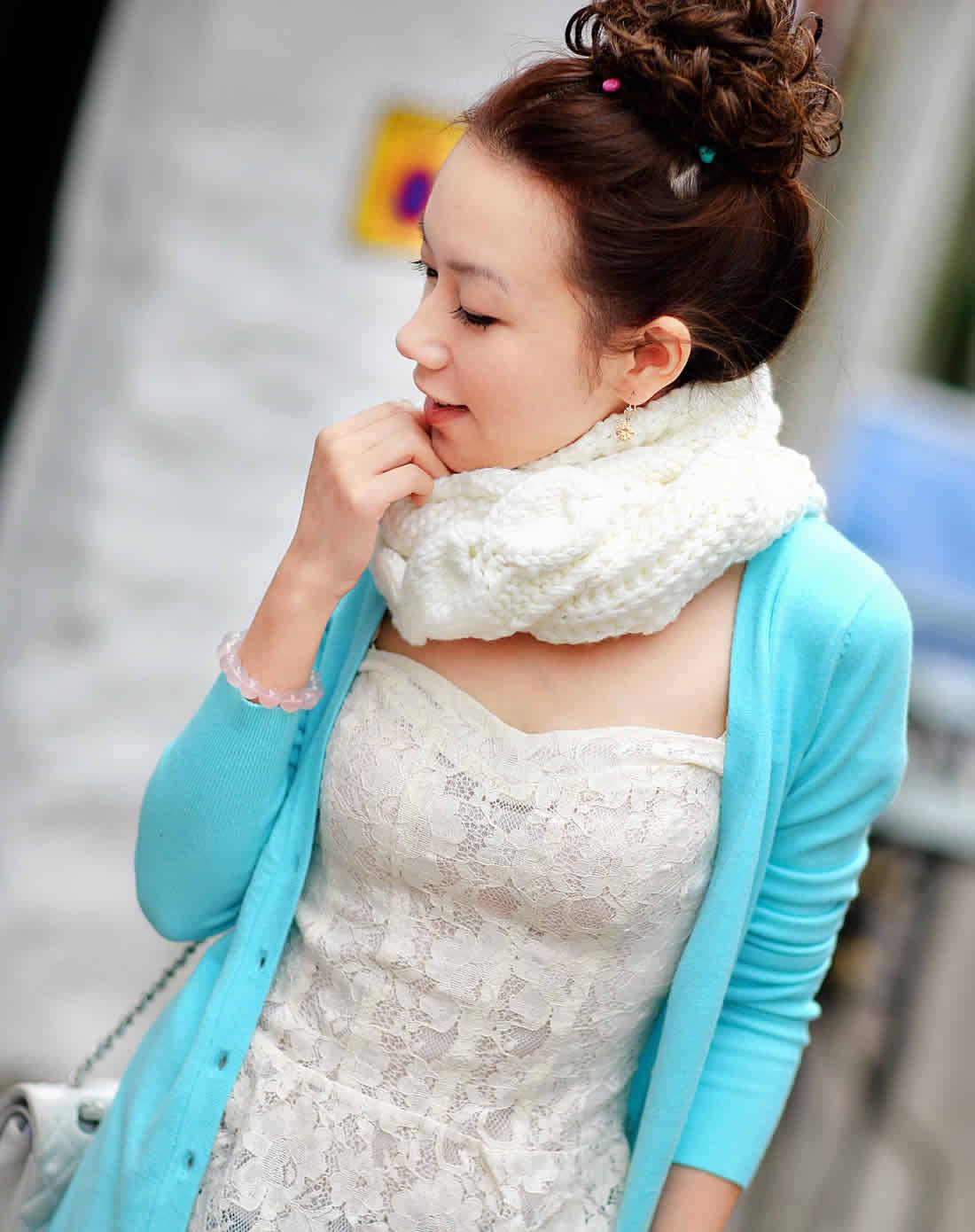 gitiz白色手工编织斗篷型小披肩z020
