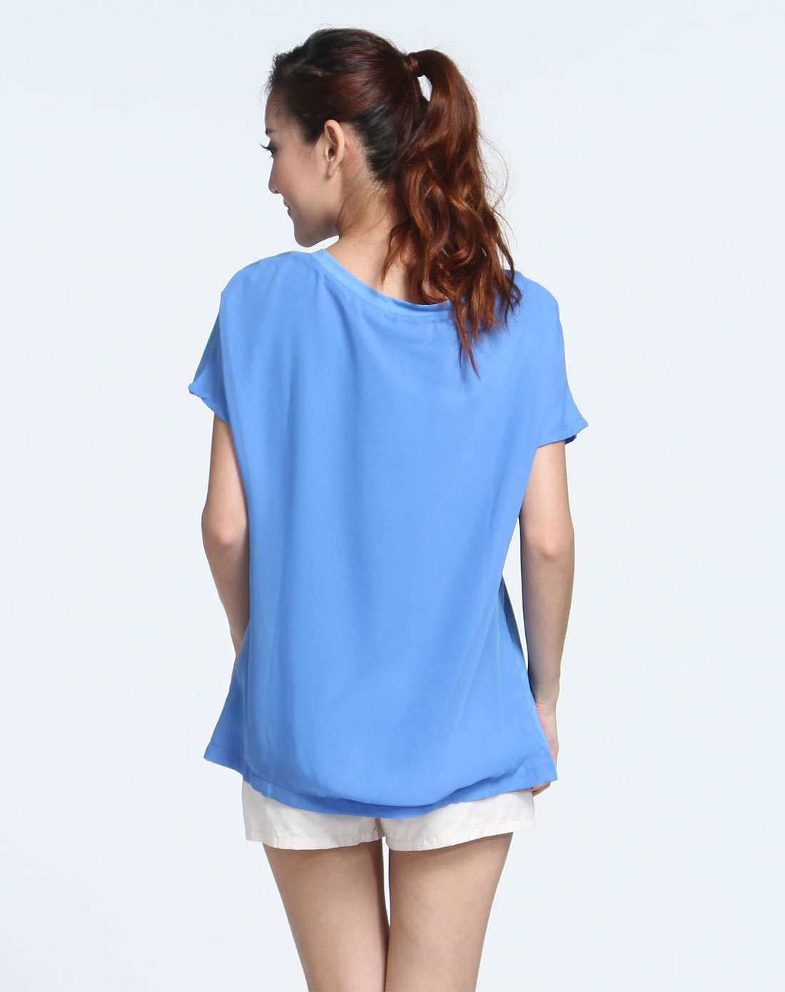 少女印图宽松天蓝色短袖t恤