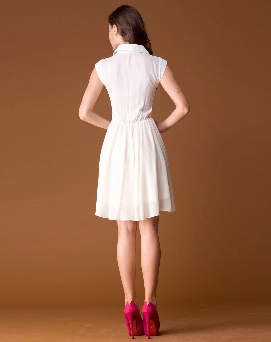 白色时尚优雅连衣裙