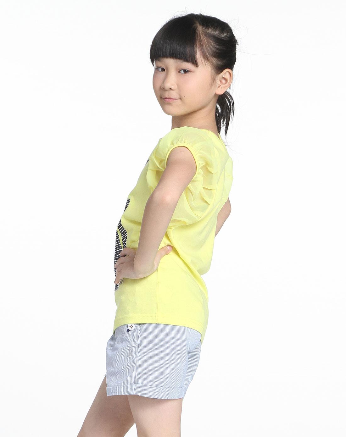女中童可爱人像印花柠檬黄色短袖t恤