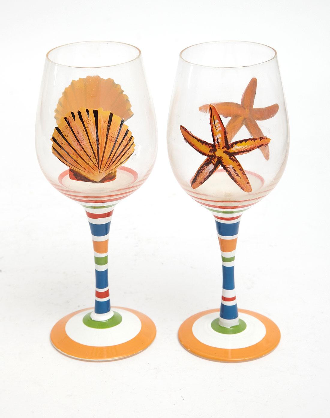送礼手绘玻璃红酒杯两件套(送鸡尾酒纸巾)