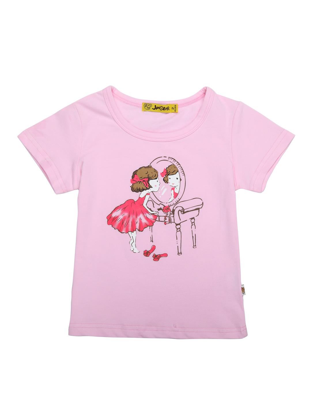 女童粉红色可爱女孩印花短袖t恤