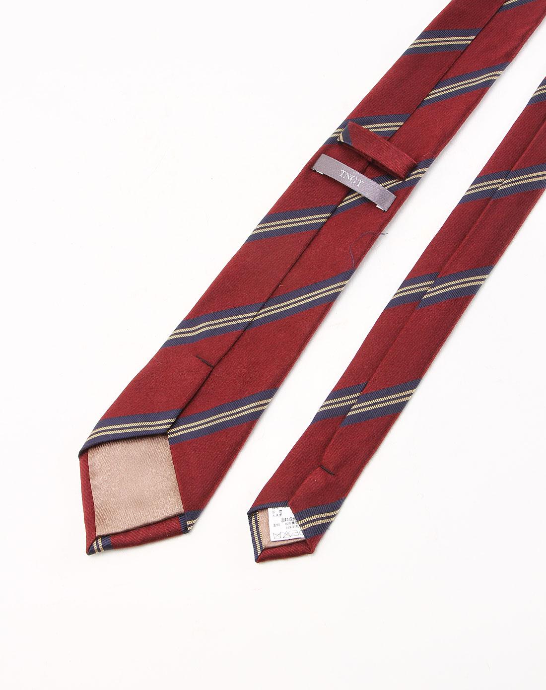 斜间酒红色商务领带