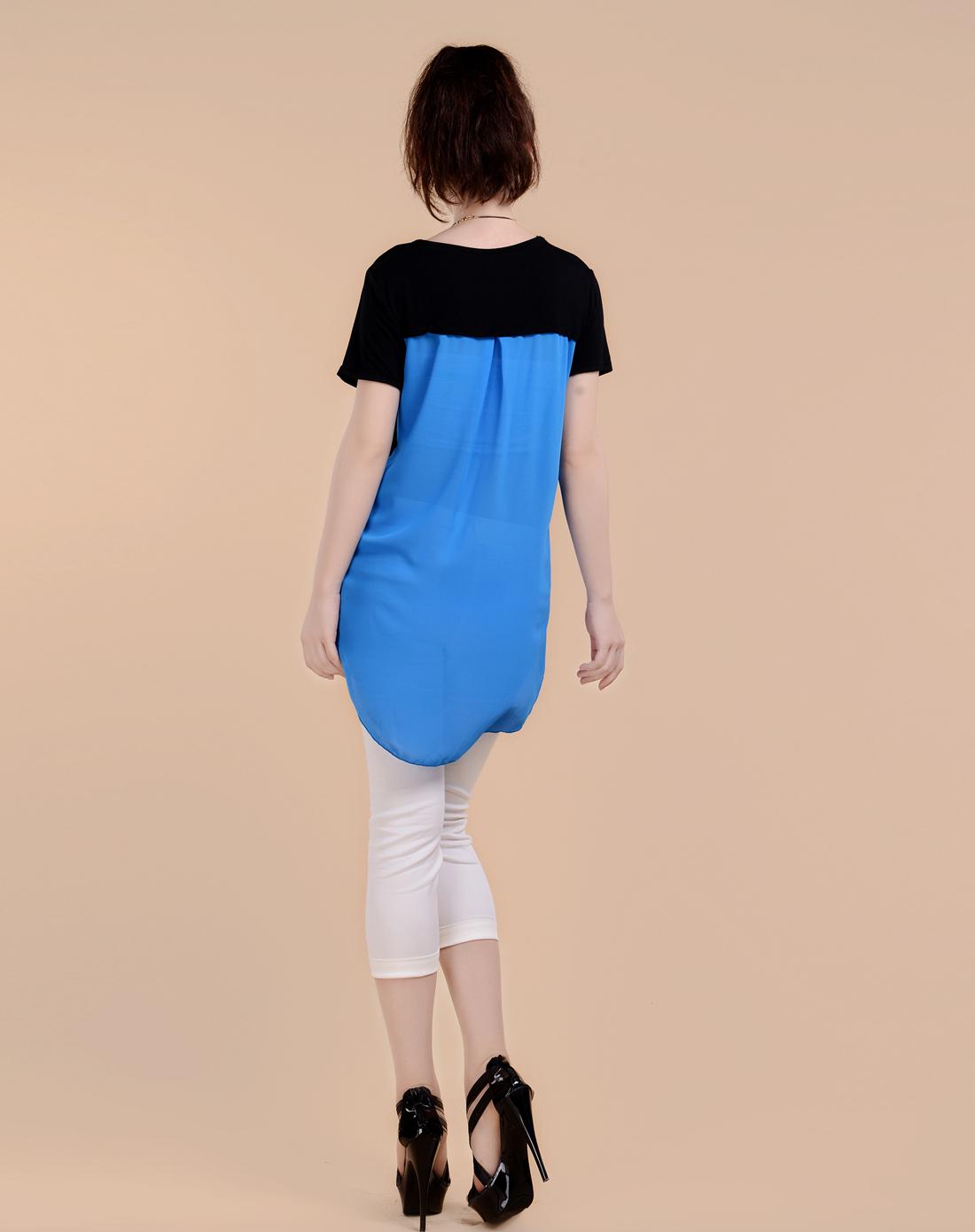 蓝色美女图案长下摆衬衫