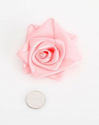 粉色素色丝带花发圈