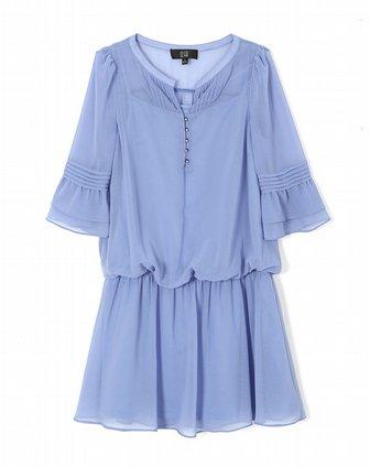 兰色雪纺连衣裙