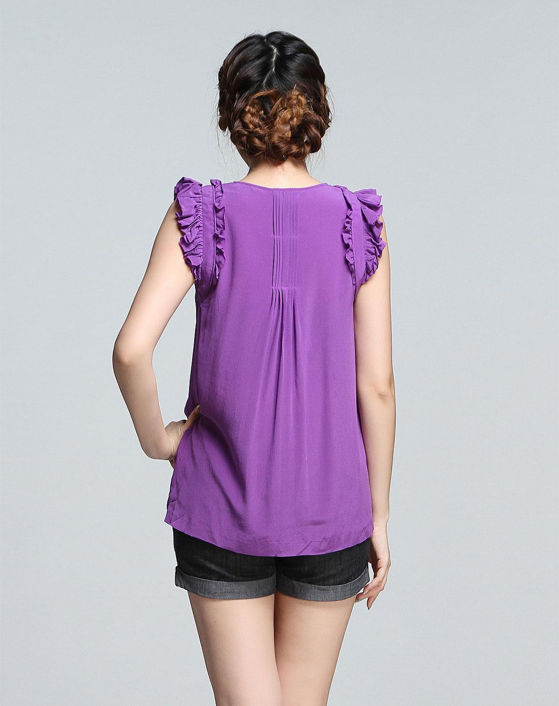 紫色半裙配什么上衣_紫色时尚无袖上衣