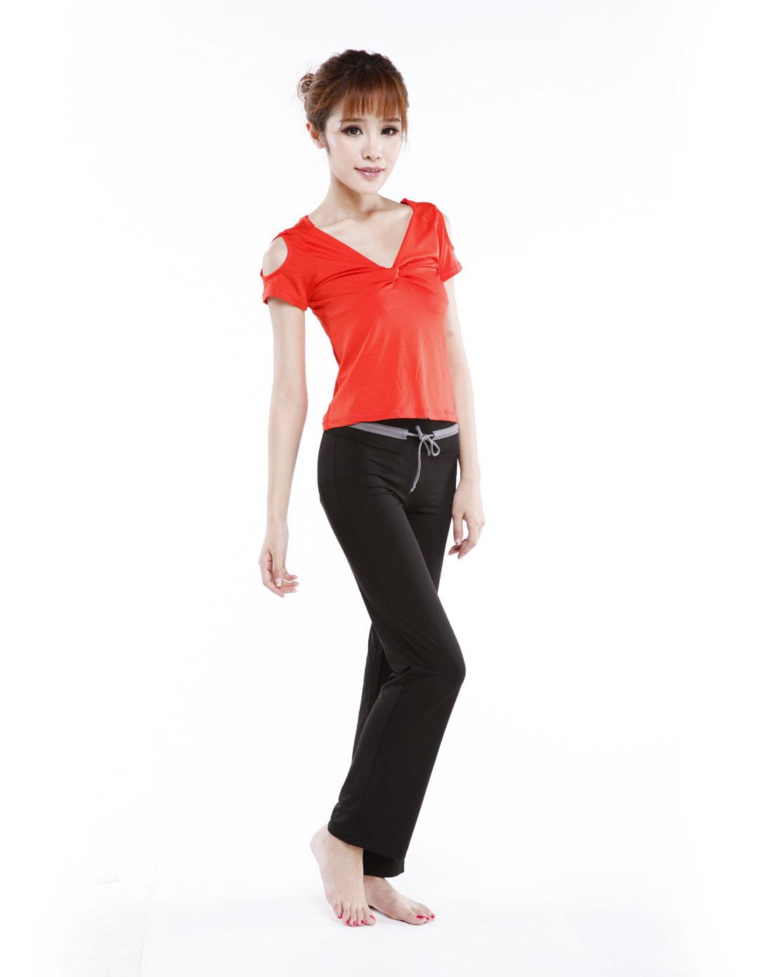 瓜红_女款瓜红/黑色瑜伽服套装