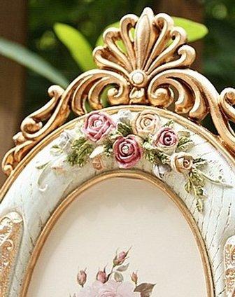 田园风玫瑰浮雕椭圆形相框6寸