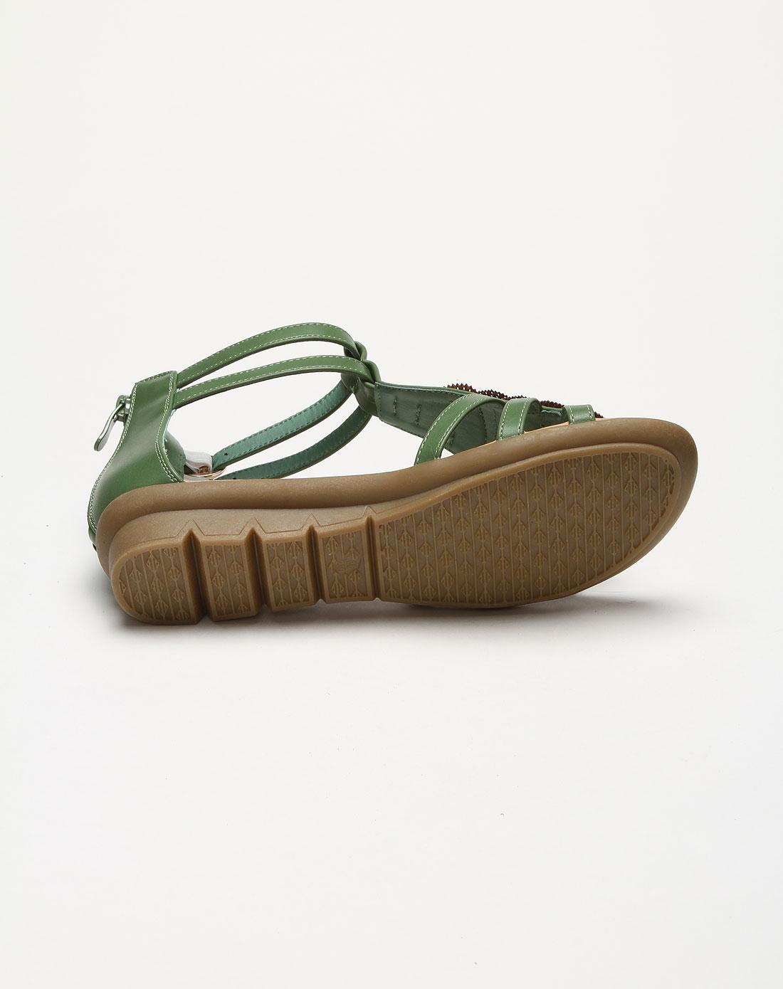 女款复古花纹后拉链绿色凉鞋