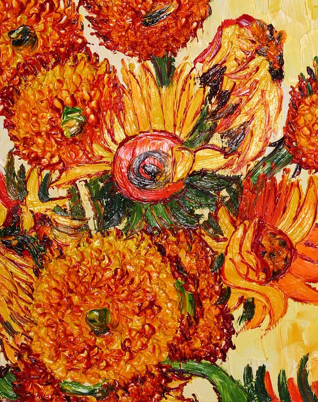 手绘油画-梵高盛开的向日葵