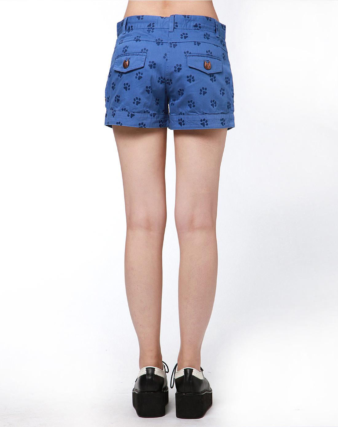 蓝色可爱动物爪印休闲短裤