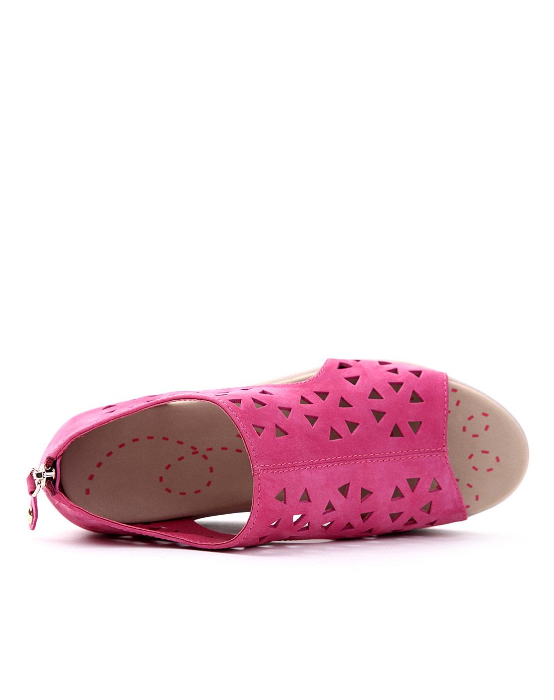 太阳舞 红色运动风镂空厚底凉鞋