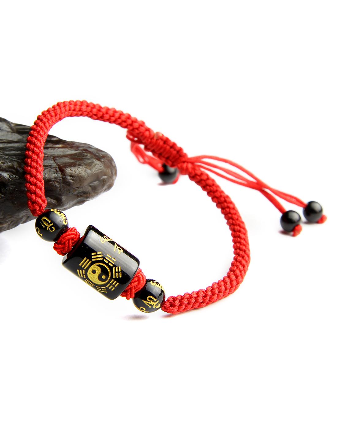 天然黑玛瑙纯手工编绳转运手链(附证书)