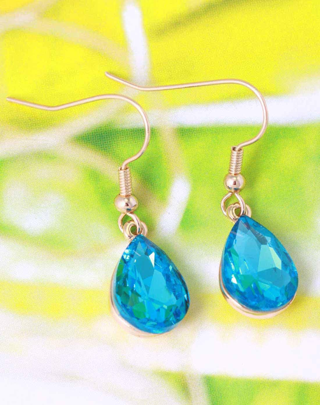 女士蓝色可爱蓝精灵水晶耳环