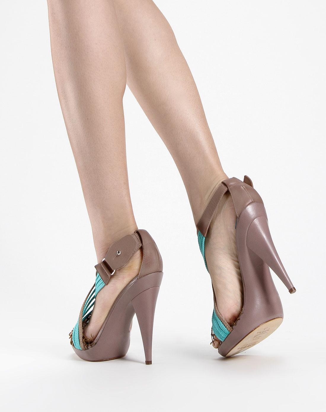 女款灰紫色网面系带高跟鞋