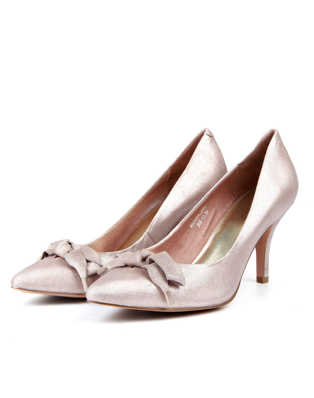 粉色蝴蝶结尖头高跟单鞋
