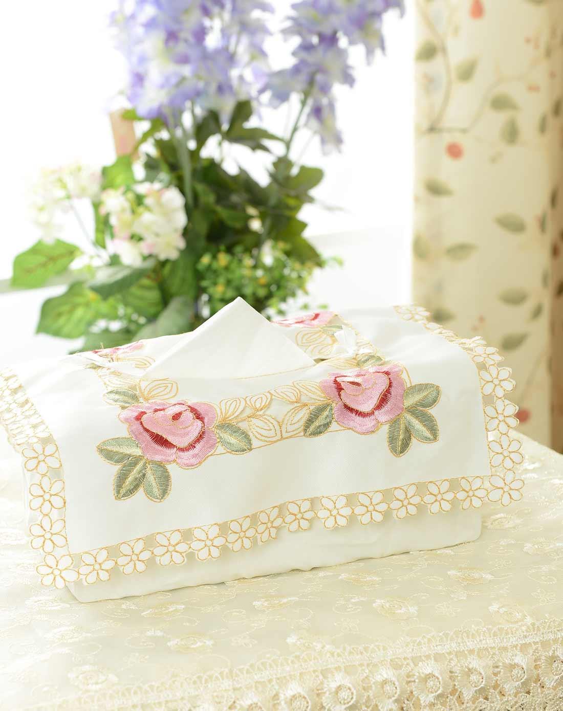欧式立体刺绣镂空纸巾盒