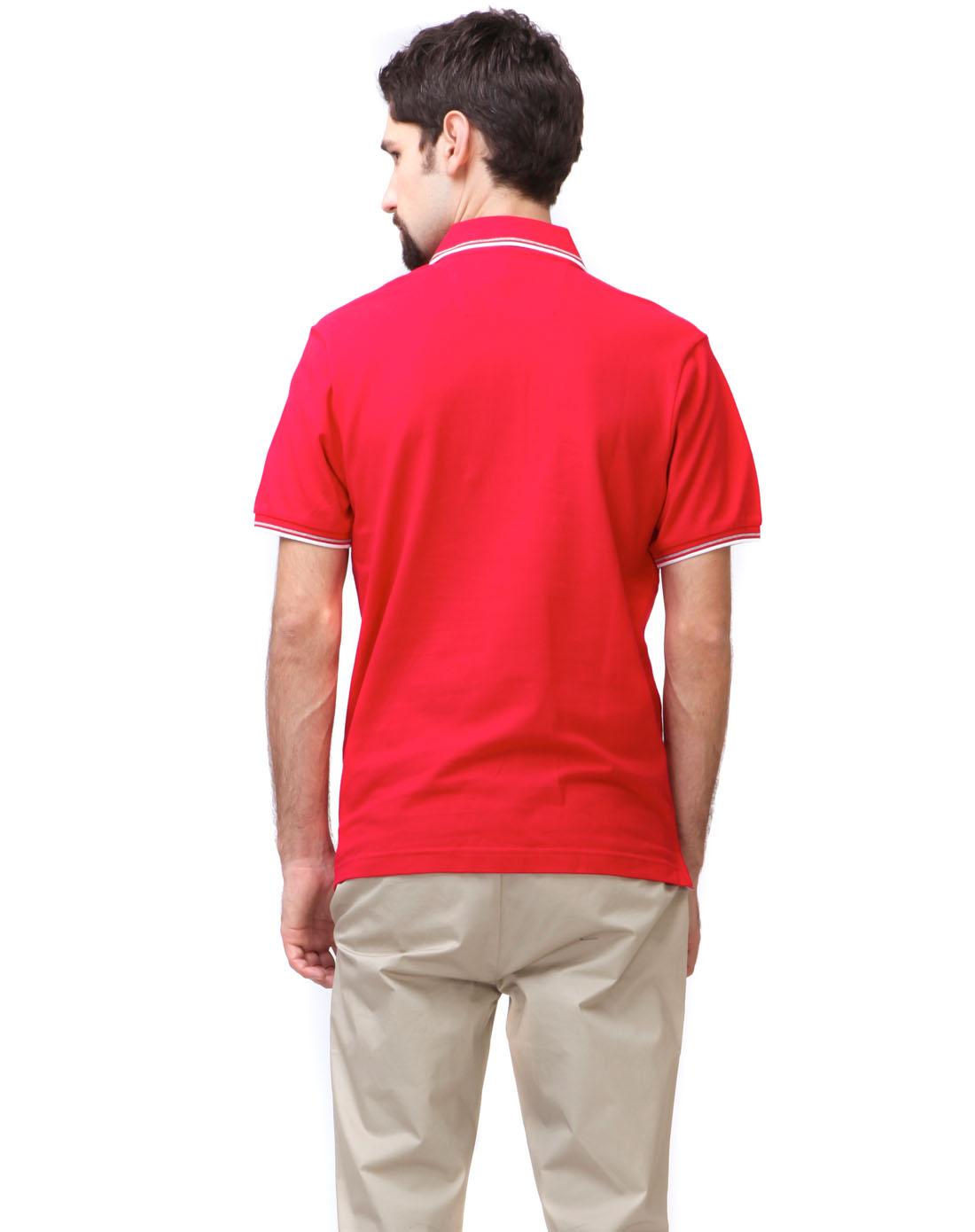 男士红色素色翻领t恤