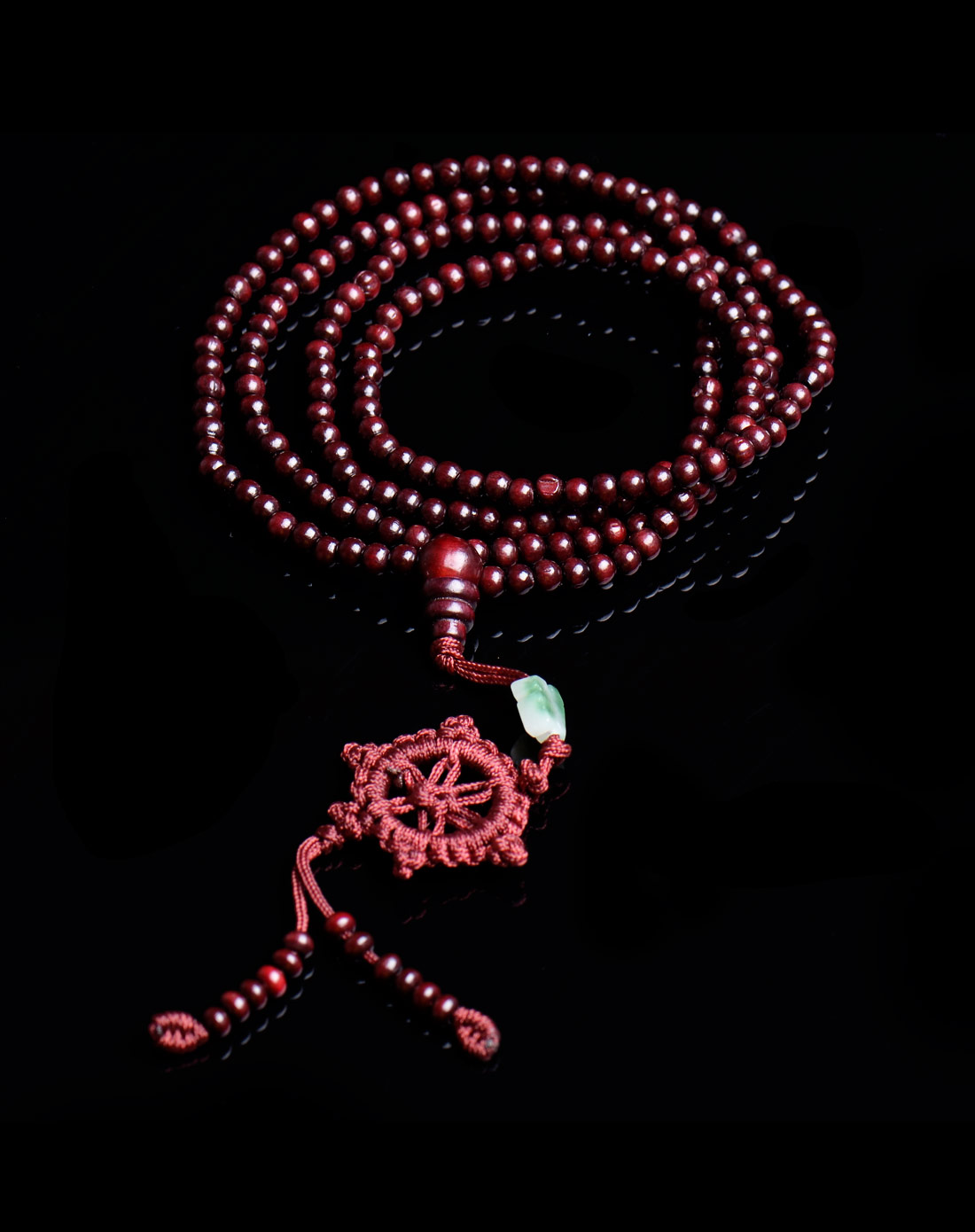 平安结非洲小叶红檀216颗佛珠手链