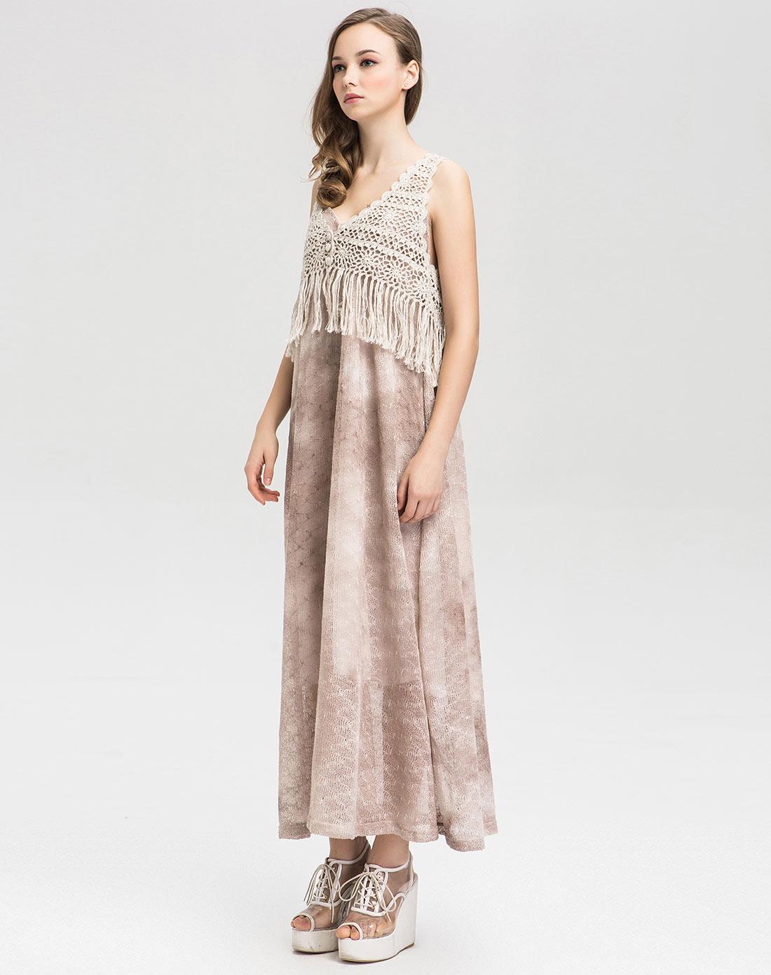 米色吊带针织长裙