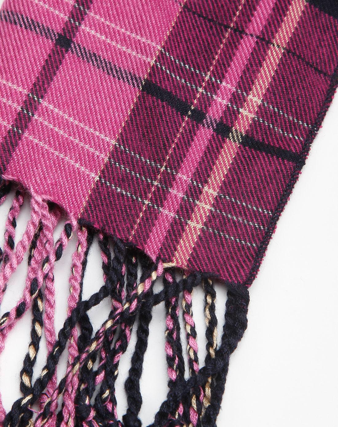 粉色格子围巾