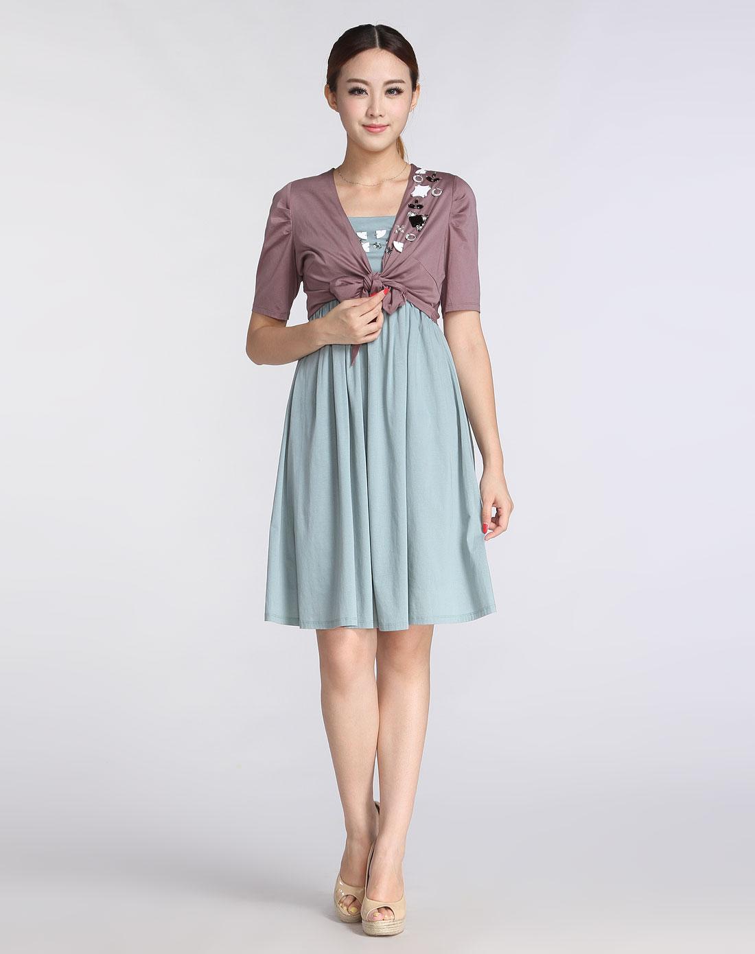 暗紫色钉珠优雅短款短袖针织外套
