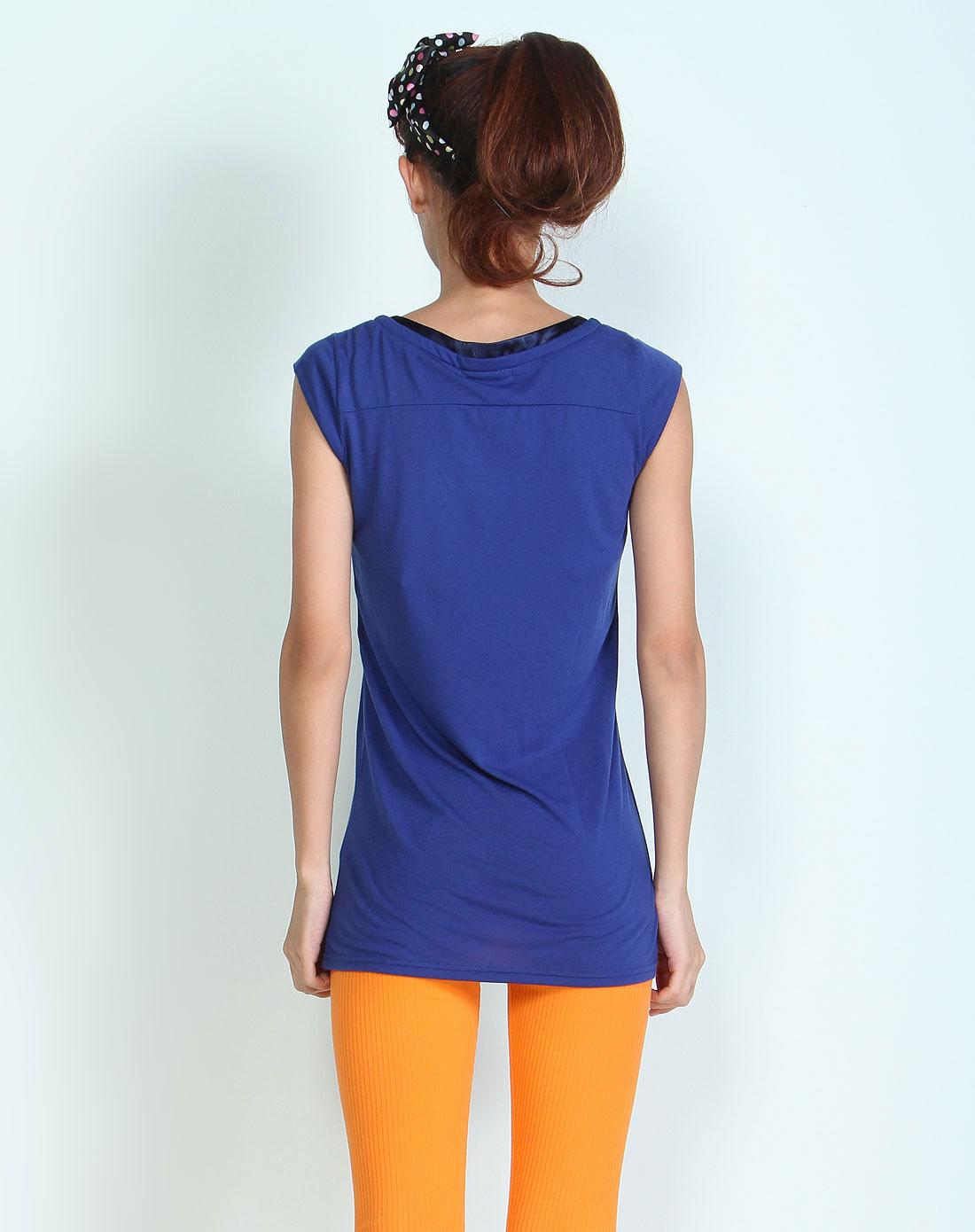 无袖跺(h��ފ9_深蓝色绣珠片无袖t恤衫