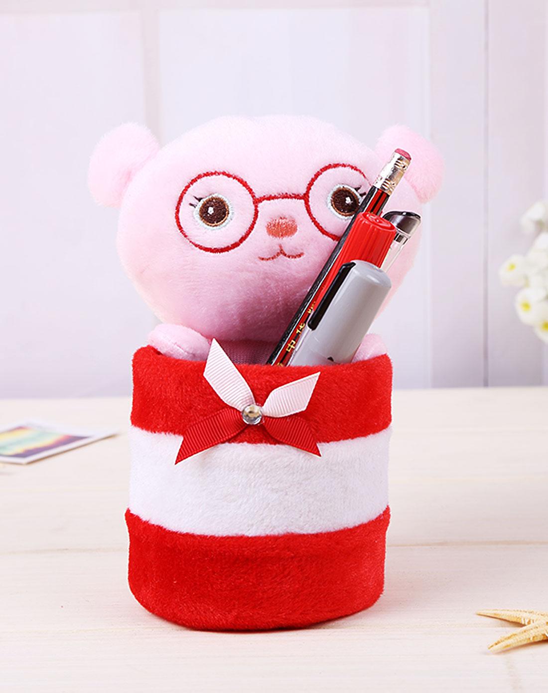 可爱卡通宝贝笔筒(粉脸眼镜熊)