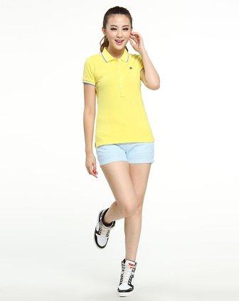 女款艳黄色翻领短袖polo衫