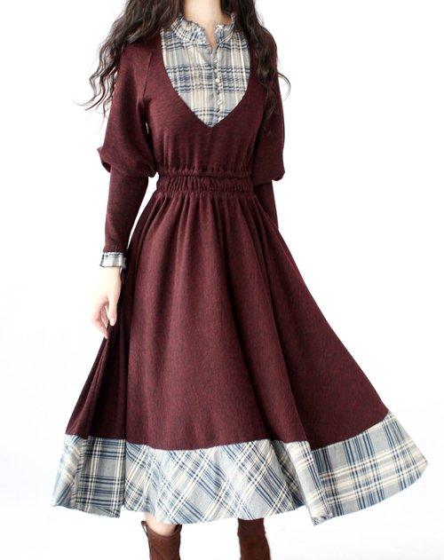 ?_artka 復古氣質絳紅色拼布長款連衣裙