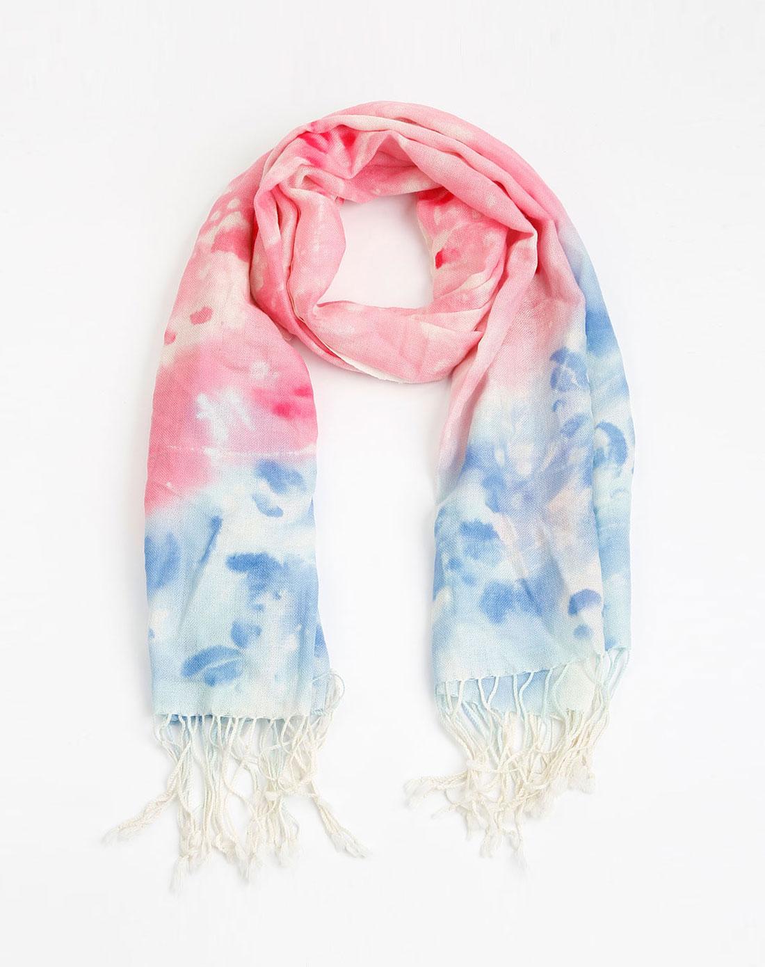 女款粉/蓝色羊毛手绘围巾
