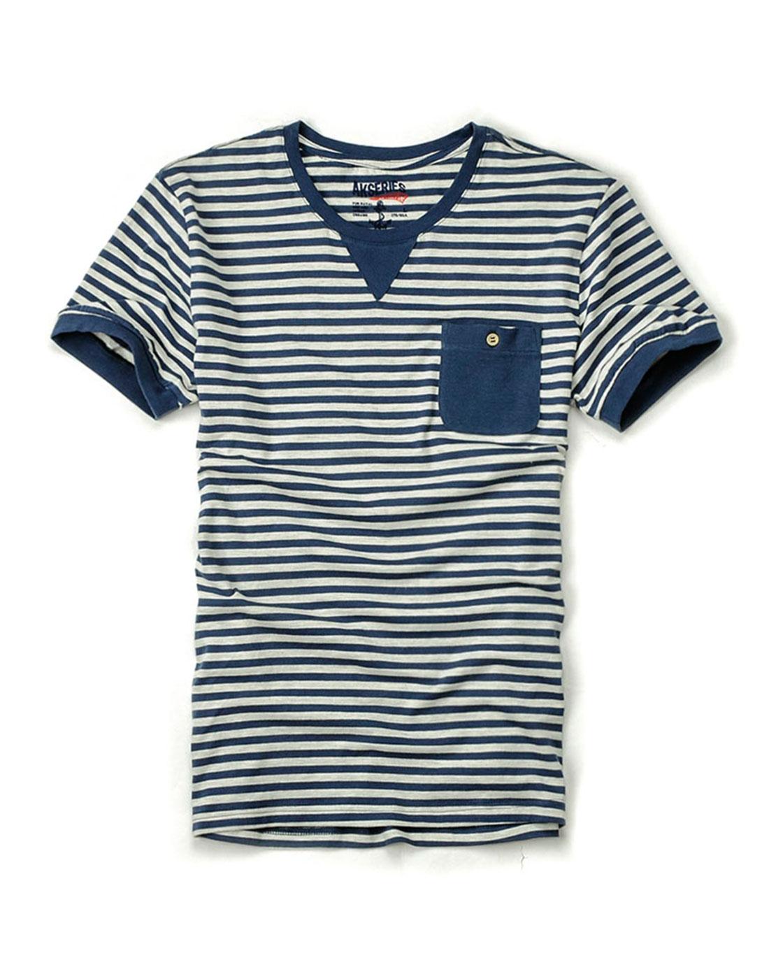 蓝条圆领三角片海魂条纹短袖t恤