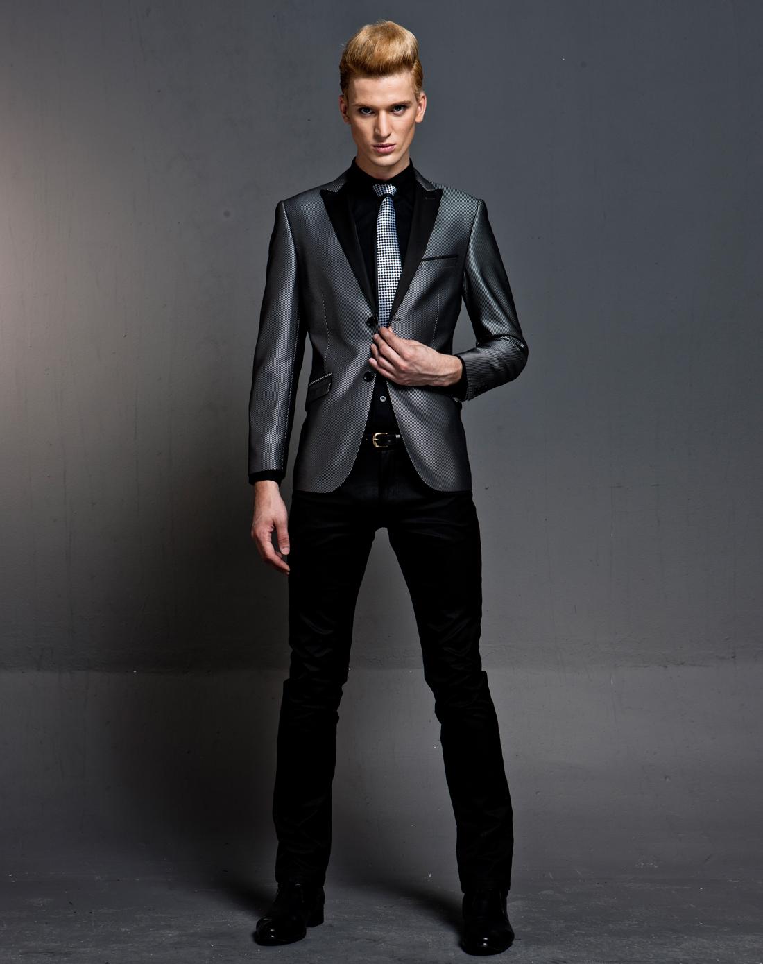 潮商务系列英伦绅士风黑灰色时尚西装