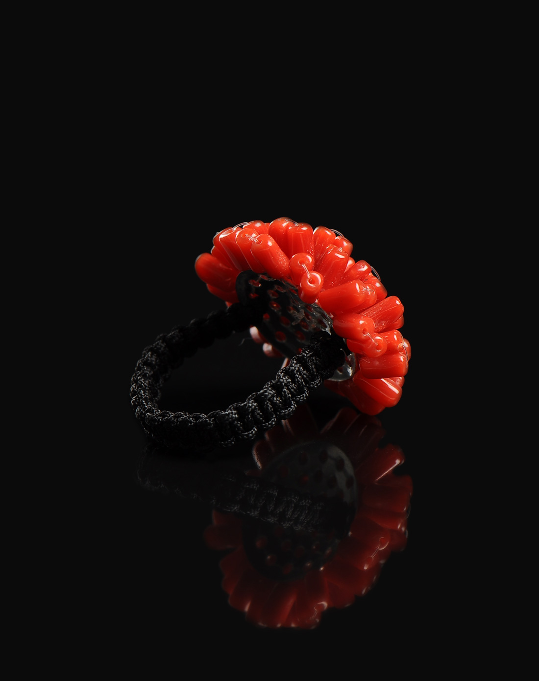 天然直管红珊瑚925银绳编戒指