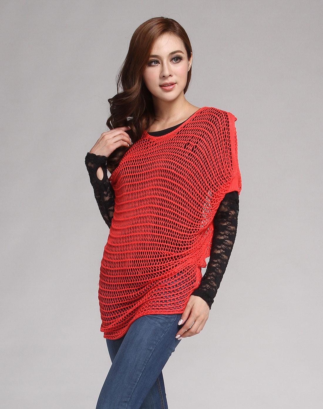 橙红色镂空蝙蝠袖休闲针织衫