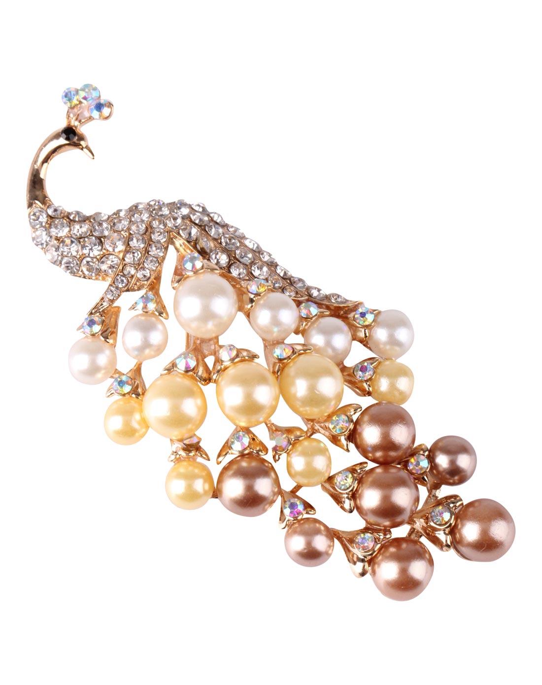 金色珍珠孔雀胸针