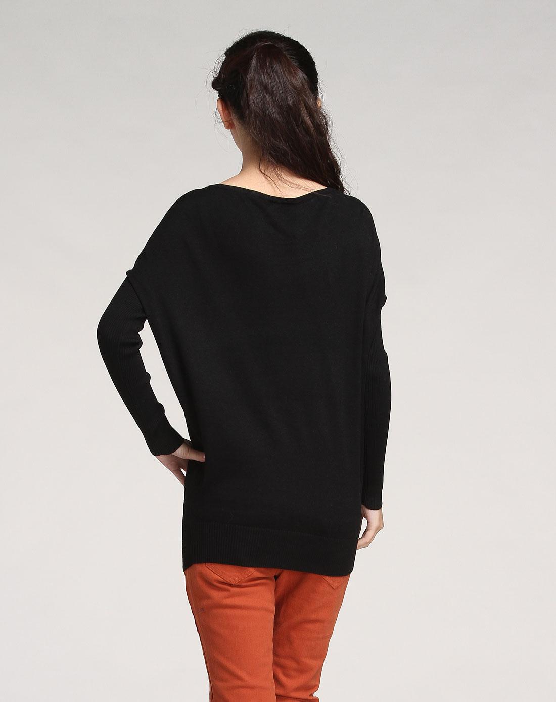 女人頭像印圖黑色長袖針織衫