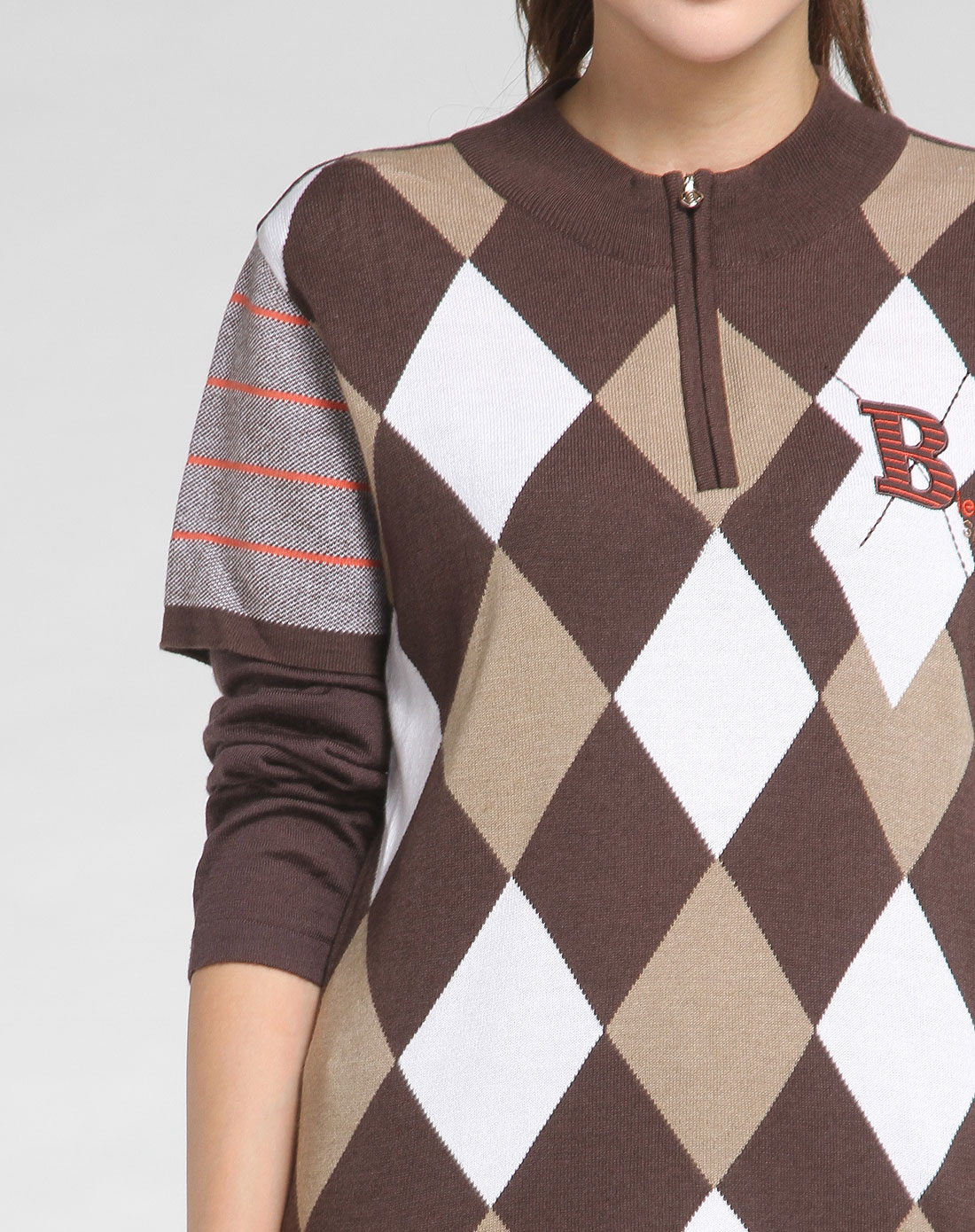 比音勒芬咖啡/白色菱形花纹长袖羊毛衣8310011200