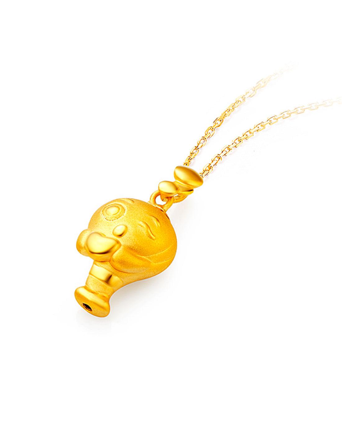 可爱小鱼黄金吊坠