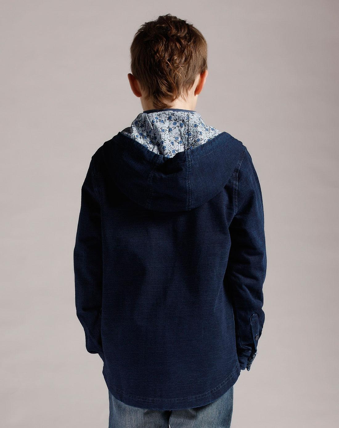 男童深牛仔蓝连帽针织牛仔外套