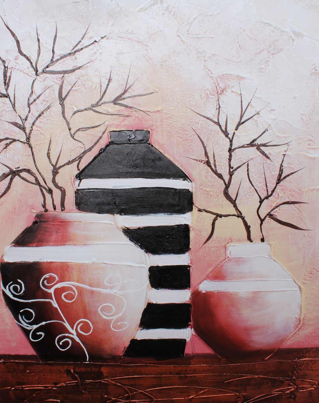 手绘油画-静物花瓶h30