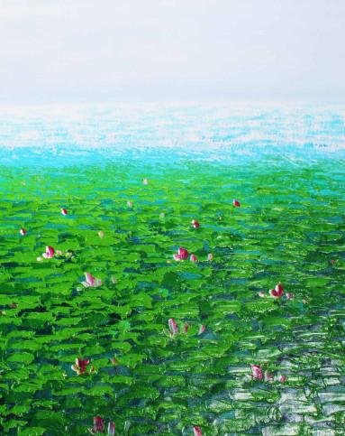 纯手绘油画画芯-荷塘风景