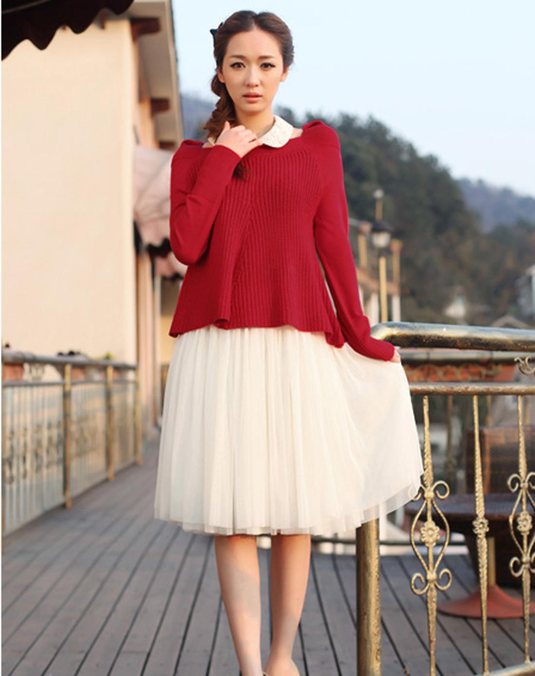 红色背心纱裙 针织衫两件套