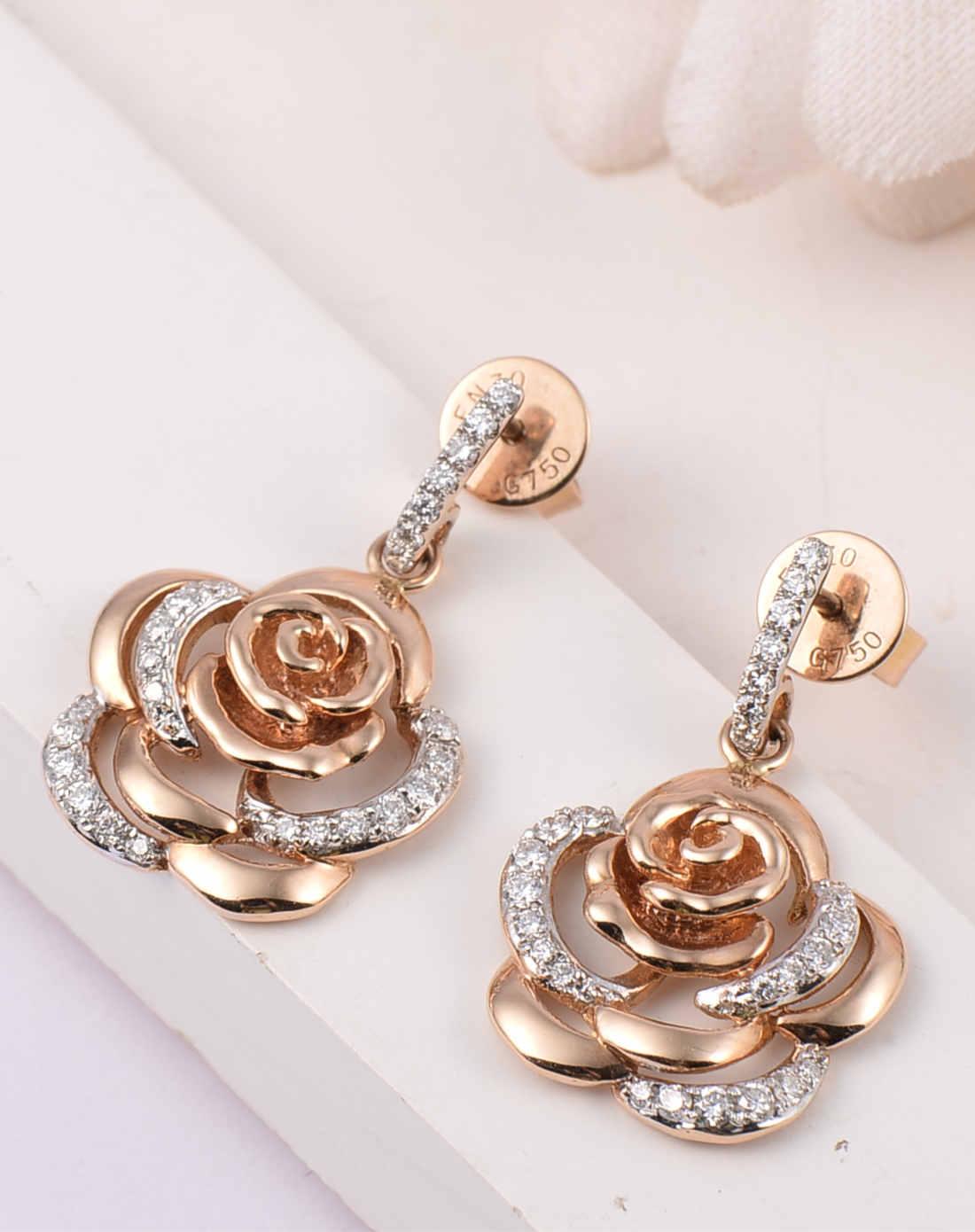 enzo珠宝专场-18k金玫瑰花钻石耳环
