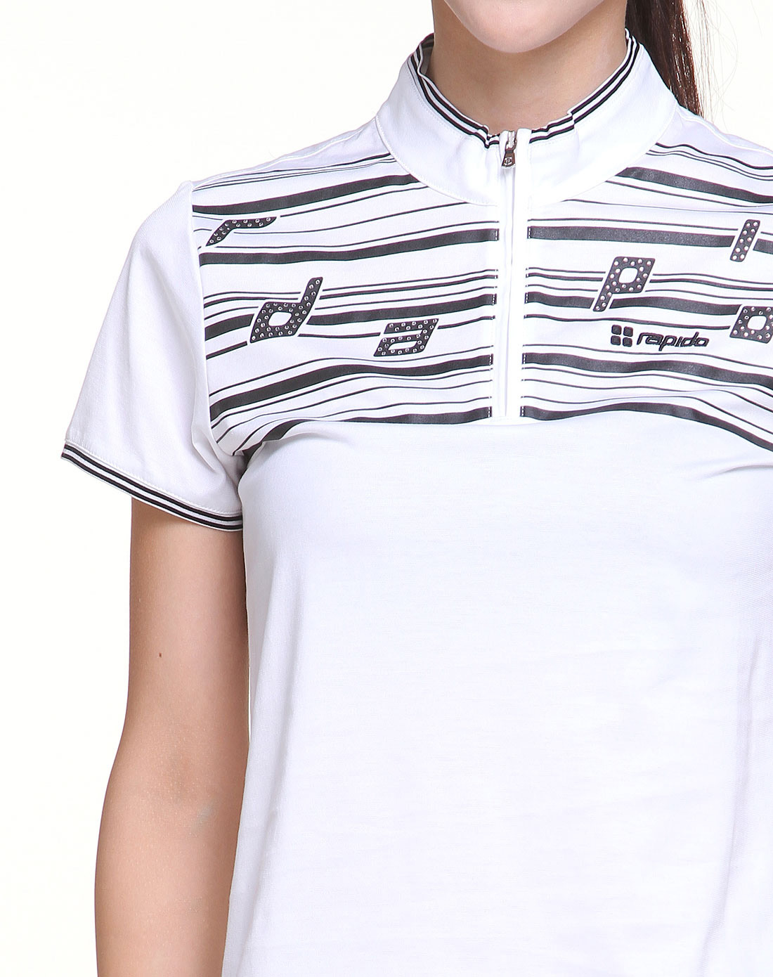 女款白底黑色条纹短袖t恤