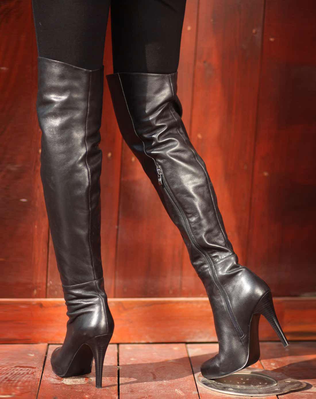 超长过膝长靴美女 牛仔裤过膝长靴