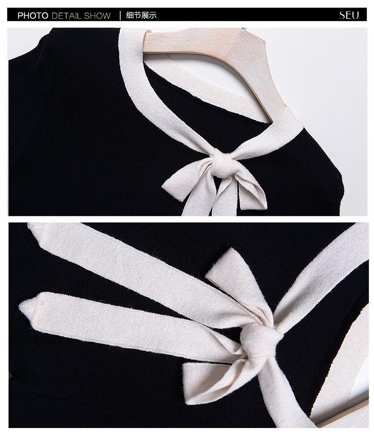 黑色蝴蝶结领口气质通勤针织衫