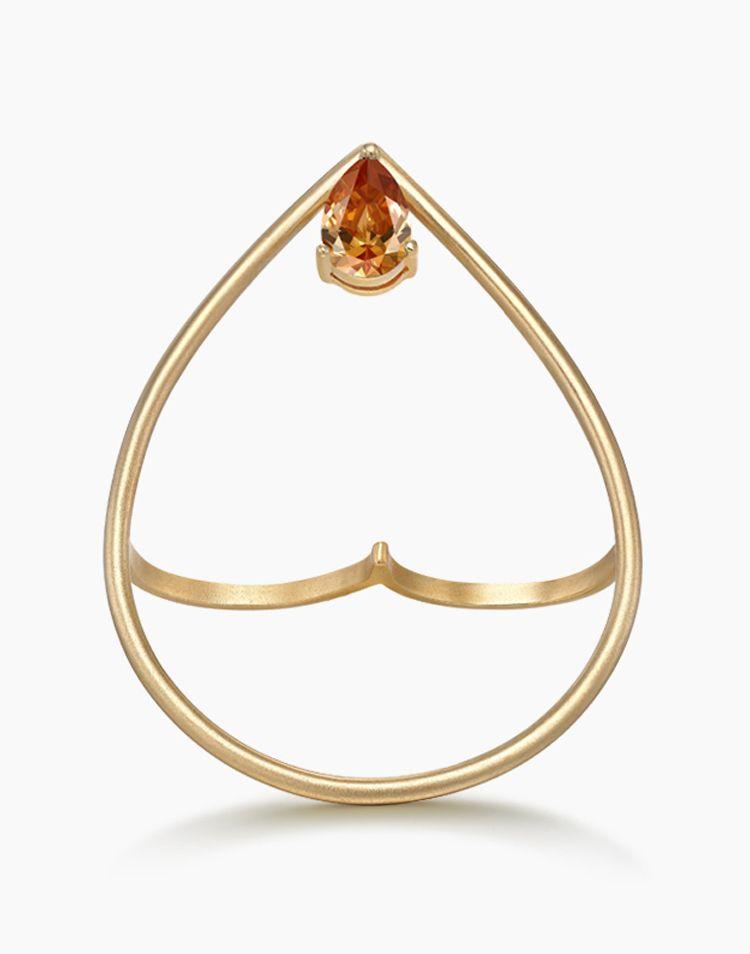 商品名称: hefang jewelry 香槟水滴双指戒 商品分类: 银戒指 产地